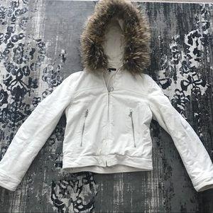 Theory Winter White Bomber Fur Hood SZ XS P